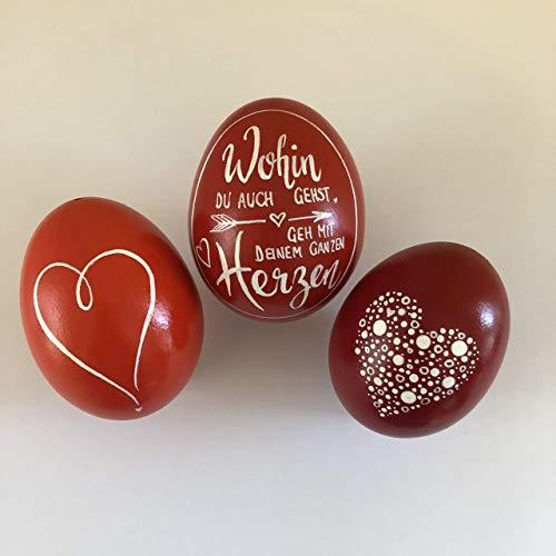 Set mit 3 Hühnereier, Osterei - Handlettering - Rot - Herz - von Hand und mit Liebe beschrieben und bemalt