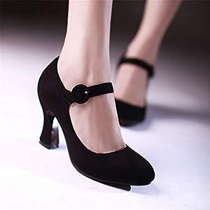 MFairy Women's Buckled Mary Jane Shoes Chunky Heel Cushioned Dress Pumps Black 8