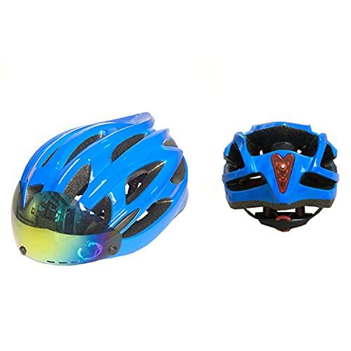 Casco de bicicleta Bluetooth con gafas magnéticas desmontables y luz trasera de seguridad para hombres y mujeres, cascos de bicicleta especializados ajustables, cascos de ciclismo para adultos(Color: