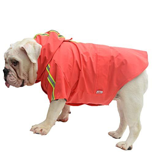 Lovelonglong Fashion Hooded Pet Dog Raincoat, Lightweight Dog Rain Jacket Zipper Closure Rain Poncho with Reflective Strip for French Bulldog Pugs Red B-M