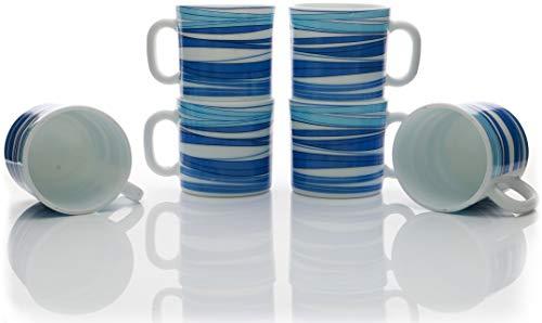 LaOpala Opalware Set of 6 Coffee Mugs/ Tea Cup Set (Rhythm Blue Opal)