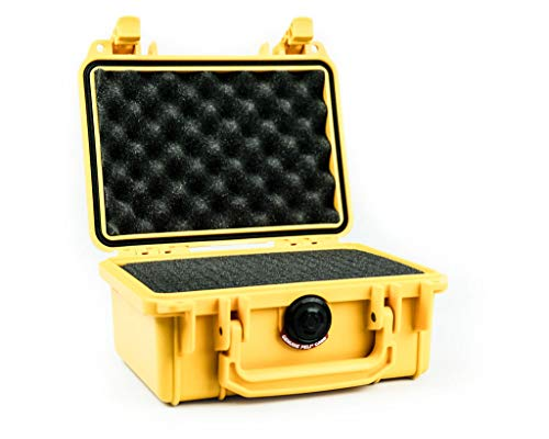 PELI 1120 Professional Shockproof Camera Case, IP67 Watertight, 5L Capacity, Made in US, With Customisable Foam Inlay, Yellow