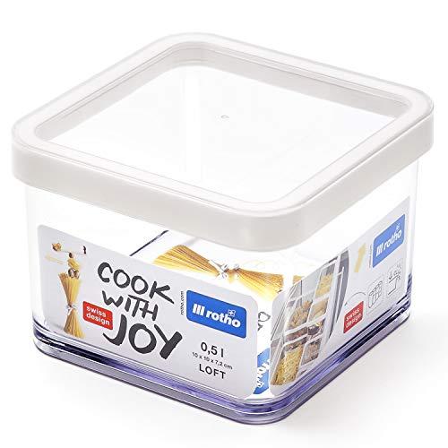 Rotho Loft, caja de almacenamiento cuadrada de 0.5l con tapa y sello, Plástico PP sin BPA, transparente, blanco, 0.5l 10.0 x 10.0 x 7.2 cm