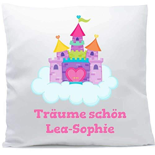 Kissen mit Namen Geburt Wolkenschloss 40x40 cm inkl. Füllung Kuschelkissen, Kissen Farbe:Vorderseite weiß/RS hellblau