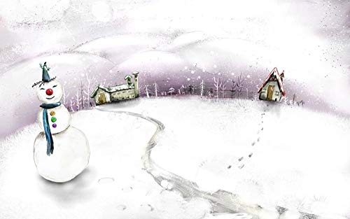 Personalizado Diy 3D Arte Papel Pintado Muñeco De Nieve De Navidad Mural De Pared Clásicos Poster Interiores Imágenes Diseño Hogar(15.74Inch*19.68Inch)