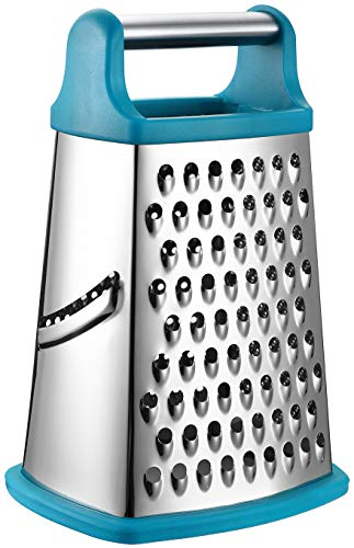 Spring Chef Professional Box Grater, Stainless Steel with 4 Sides, Best for Parmesan Cheese, Vegetables, Ginger, XL Size, Teal