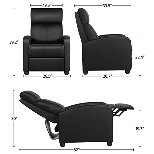 Yaheetech Recliner Armchair Single Padded Seat PU Leather Sofa Lounge Home Living Room Theater w/Adjustable Leg Rest and Reclining Functions Black