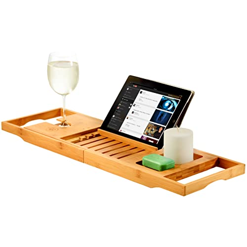 Premium Bamboo Bathtub Tray Caddy - Expandable Wood Bath Tray with Book/Tablet Holder, Wine Glass Slot- Gift Idea for Loved Ones