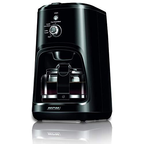 MPM MKW-04 Cafetera de Goteo con Molinillo de café Integrado, Máquina de Filtro para 4 Tazas, 0,6 litros, función mantenedora Calor, 900 W, 6 Cups, 0 Decibeles, Acero Inoxidable, Negro