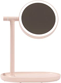 Lighted Tabletop Vanity Mirror Adjustable Height with Lights Desktop Mirror Rotates 360° Home Dormitory USB Charging Doubl...