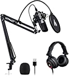 USB Microphone with Studio Headphone Set 192kHz/24 bit MAONO AU-A04H Vocal Condenser Cardioid...