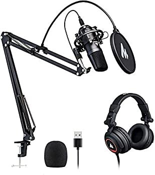 Microphone with Studio Headphone Set 192kHz/24bit MAONO Vocal Condenser Cardioid Podcast Mic Compatible with Mac and Windows YouTube Gaming Live Streaming Voice-Over  AU-A04H