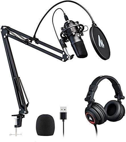 USB Microphone with Studio Headphone Set 192kHz/24 bit MAONO AU-A04H Vocal Condenser Cardioid Podcast Mic Compatible with Mac and Windows, YouTube, Gaming, Livestreaming, Voice Over