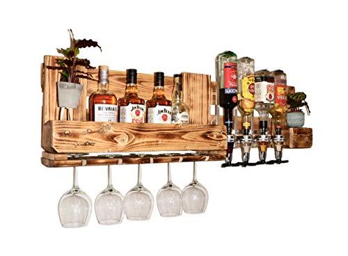 Weinregal Holz Schnapsregal vintage Getränkespender Küche Bar Regal Wandregal rustikal Europalette - 2