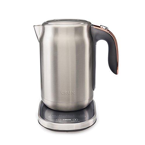 Crux CRUX006 15 Bar Espresso Filter Machine-Authentieke Italiaanse Barista Stijl Koffiemachine met Melk Stoom Wand voor Latte & Cappuccino Digitale Touch draadloze waterkoker Metal With Copper Trim
