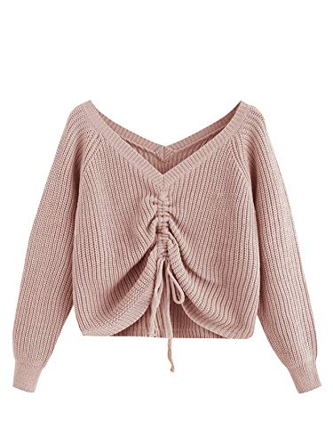 MakeMeChic Women's Drawstring Knot Casual V Neck Pullover Sweater Crop Top Dark Pink S