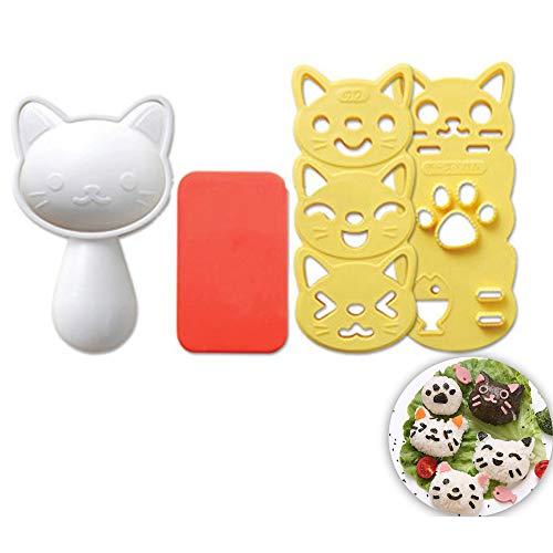 Schneespitze Set Reisball-Formen,Katze Form Reisform,Kleine Reis-Ball-Form-gesetzte,Onigiri Maker Mould,DIY-Sushi-Bento,kreative Sushi-Hersteller,Algen Prägeform