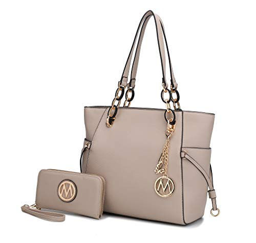 MKF 2-PC Set Tote Satchel Bag for Women & Wristlet Wallet Purse: PU Leather Handbag Pocketbook, Shoulder Strap Taupe