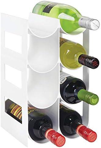 mDesign Práctico estante para botellas de vino – Botelleros para vino y otras bebidas para guardar hasta 8 unidades – Vinoteca de plástico de pie – blanco