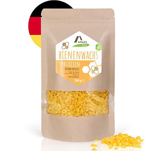 Amazy Cire d'abeille naturelle en pastille | 200g - Beewax Pépite Cire Abeille - 100% naturelle et fondante - Idéale pour la fabrication de cosmétiques, bougies, vernis et chiffons en cire d'abeille