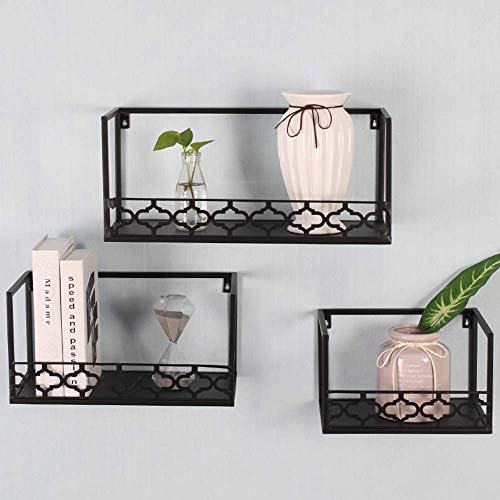 LEILEI Wall Shelf Rectangle Wrought Iron,Sofa Background Wall Decoration Hollow Pattern Metal Wall Hanging Decoration - Gold,Black,White