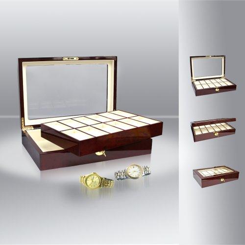 Safe-ID - verzamelaarsartikel - koffer vitrine van hout voor 12 horloges 260
