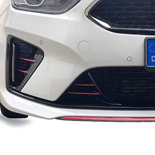 P055 Frontgrill Stripes | Designline | 10er-Set Stripes | Folien Set | Kühlergrill | Stoßstangen Folie (Karminrot)