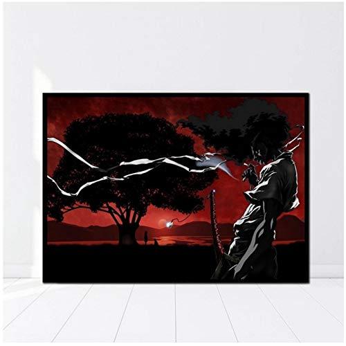 Póster de Anime japonés Afro Samurai, impresiones de tela HD, arte de pared, decoración de pared, regalo, impresión en lienzo, 24x32 pulgadas, sin marco