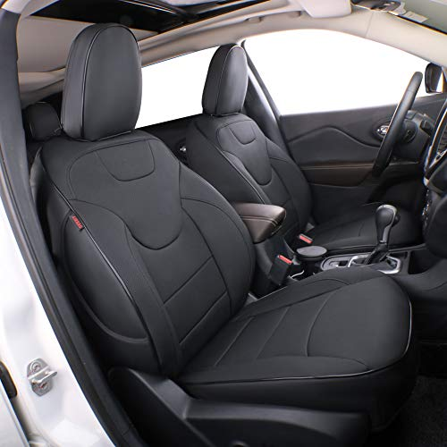 EKR Custom Fit Full Set Car Seat Covers for Select Jeep Wrangler 4 Door 2008 2009 2010 2011 2012 - Leatherette (Black)