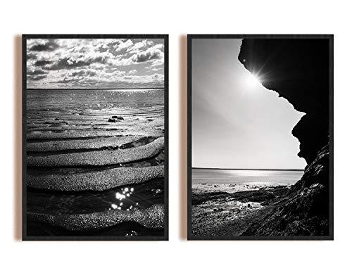 LOOPFLOW® Poster Set Schwarz Weiß - 2 x Kanadische Natur A3 Fotokunst Wandbilder OHNE Rahmen - Moderne Deko Bilder für Schlafzimmer, Wohnzimmer, Küche, Bad, Foyer, Büro - Set A