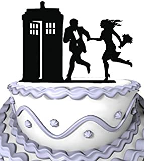 Meijiafei Hurry to the Police Call Box Wedding Cake Topper