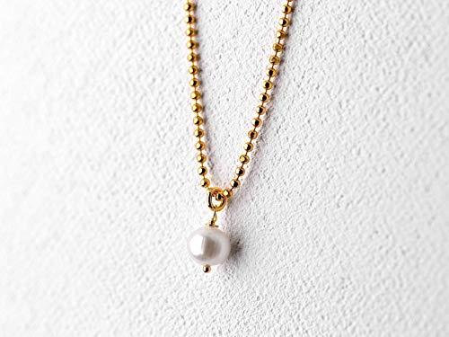 Perlen-Kette gold, vergoldete 925 Sterlingsilber Kugelkette 50 cm, Süßwasserperle, Braut, Hochzeit, handmade Geschenk für Sie, Perlenschmuck