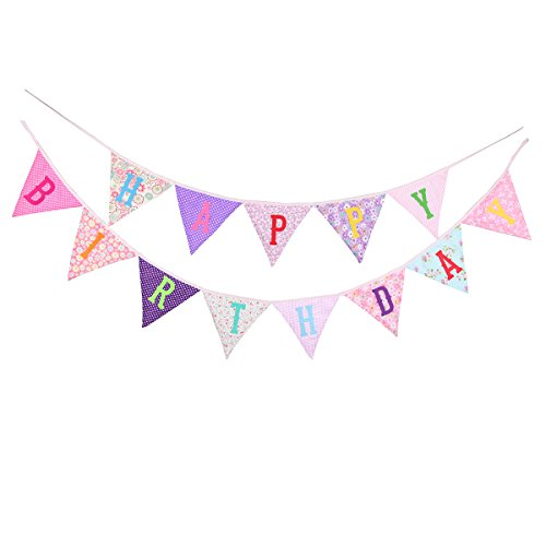 BESTOYARD Happy Birthday Banner Wimpelkette Bunting Girlande für Kinder Geburtstag Party Dekoration (Rosa)
