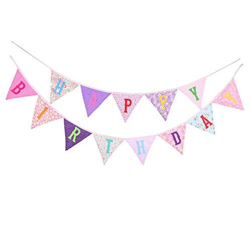 BESTOYARD HAPPY BIRTHDAY Banner Wimpelkette Bunting Girlande für Kinder Geburtstag Party Dekoration (Rosa)