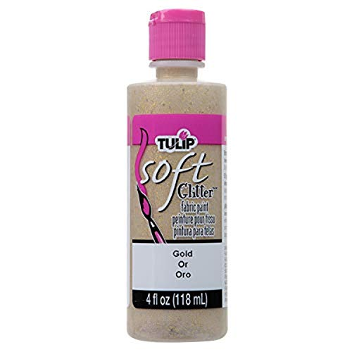 TULIP 20413 Soft Fabric Paint 4oz Glitter Gold, 0.5 Inches