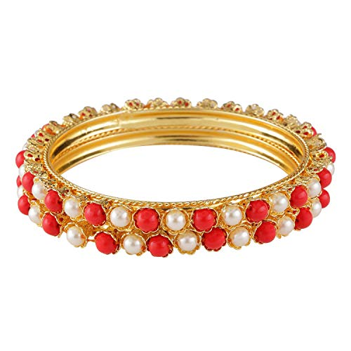 Efulgenz Indian Style Bollywood Traditional Gold Plated Faux Pearl Coral Wedding Bracelet Bangle Set Jewelry
