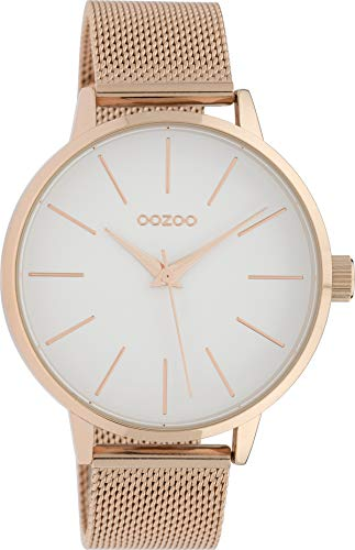 Oozoo Damenuhr mit Edelstahl Milanaise Metallband 42 MM Rose/Weiss/Rose C10008