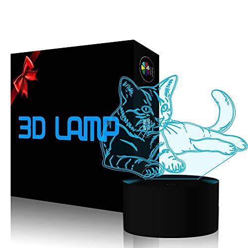 Bonita Puzzle Horse 3D Lámpara Ilusión Noche Luz 7 Cambiando colores Toque Control de la lámpara de escritorio con cable USB Dormitorio Decoración Regalos de cumpleaños para niños Boys Girls Caballo A