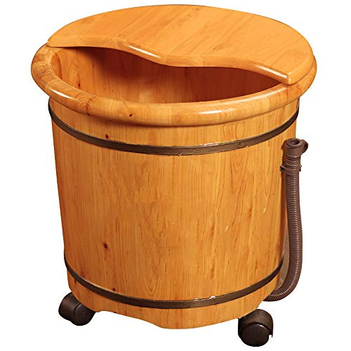 YSZYP Pistola de baño de pies de Cedro, cañón de baño de pies Cubiertos, cañón de baño de pies pequeños, cubeta de Salud casera de Espuma de baño de pies de 40 cm