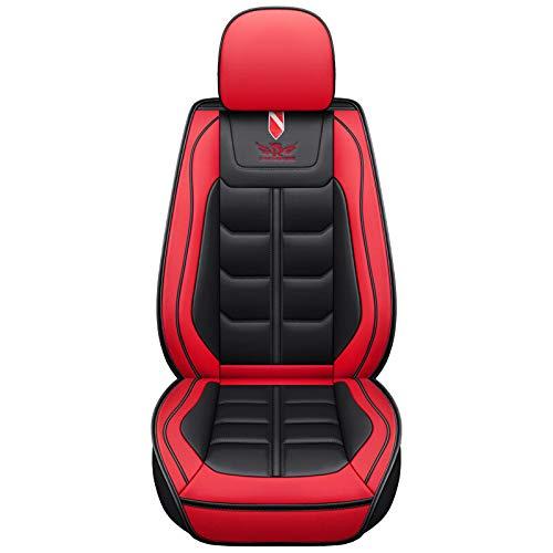 DFYYQ Coche Universal PU Cuero Auto Asiento Delantero Cojín de cojín Cubierta Protector (Color : Red)