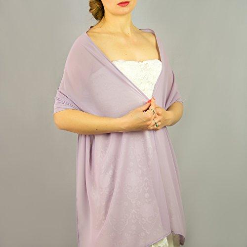 Stola Chiffon Schal Brautstola Tusch Hochzeit Braut Lavendel Lila Violett