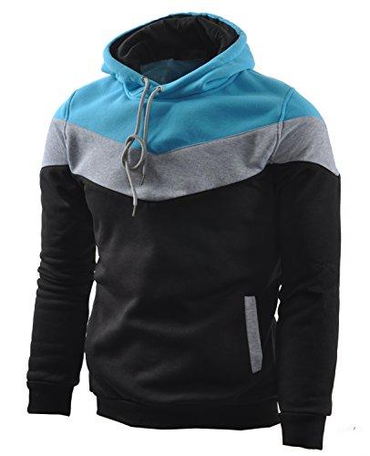 Mooncolour Men's Novelty Color Block Hoodies Cozy Sport Autumn Outwear Black/Grey/Blue M Black US Medium