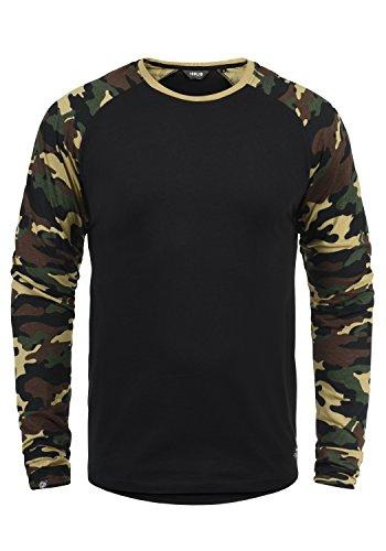 !Solid Cajus Camiseta De Manga Larga Camuflaje Estilo Militar Estampada Longsleeve para Hombre con Cuello Redondo De 100% algodón, tamaño:XL, Color:Black Dusty (D9000)