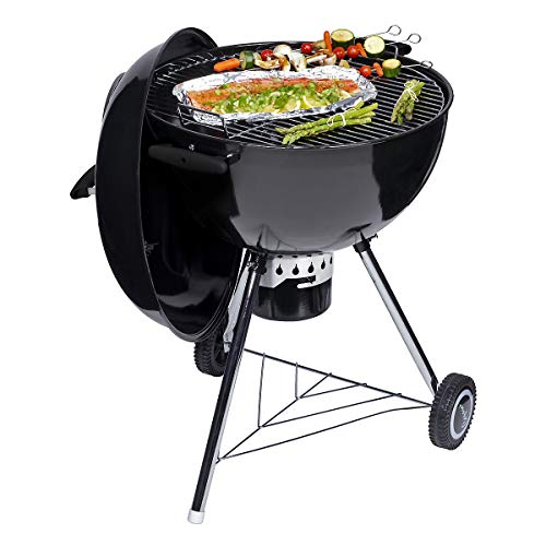 Clas Ohlson ® Charcoal BBQ, Barbecue Kettle Grill with Wheels and Lid - Durable Enamel Finish, for Garden Parties, Outdoor Dining - Black (57 CM)
