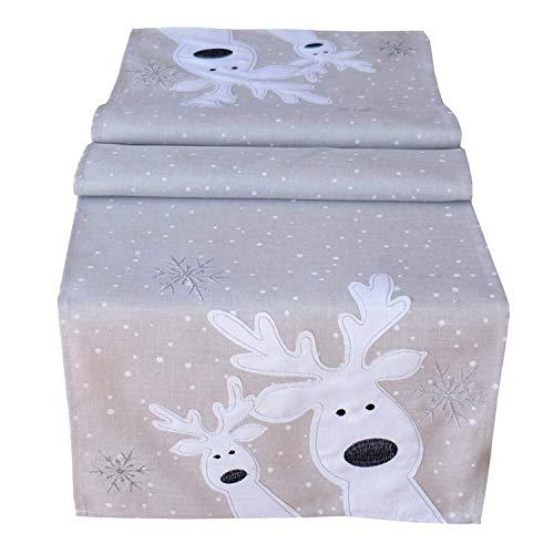 Raebel Tischdecke Weihnachten Tischläufer Läufer Weihnachtsdeko Weihnachtsdecke Elch Ecru 40x85