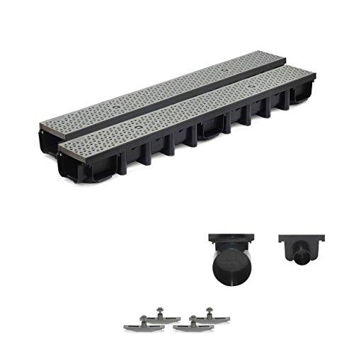 2m Entwässerungsrinne für modulares System A15 98mm, komplett Stegrost Kunststoff, Grau Decor