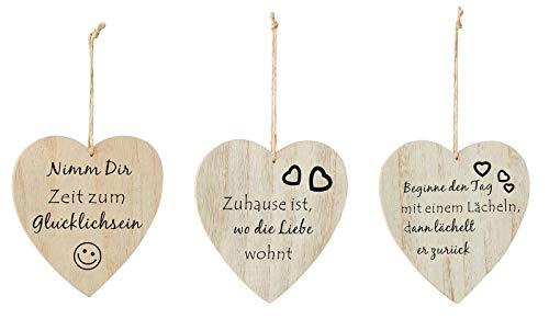 levandeo Lot de 3 cœurs décoratifs en bois - 17,5 x 17 cm - Proverbes de sagesse - Amour - Cadeau - Décoration murale