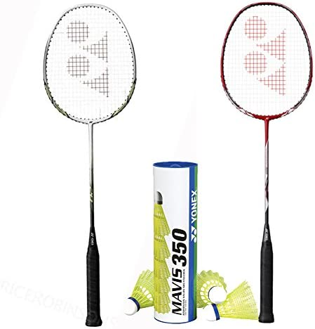 Yonex 2 Nanoray 20 with Mavis 350 Yellow Medium Shuttle Badminton Combo Set product image