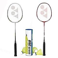 2 Nanoray 20 Racquets (colors will be random) 1 Tube of Mavis 350 Yellow Medium Nylone Shuttlecock Ready to go badminton set! Authentic Yonex USA Products