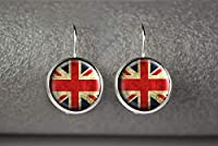 イギリス国旗イヤリング、ユニオンジャックイヤリング、英国国旗イヤリングドームガラス飾り、パーソナライズされたイヤリング